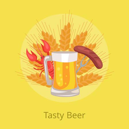 Tasty Beer Poster Grilled Sausage on Folk Vector Illustration