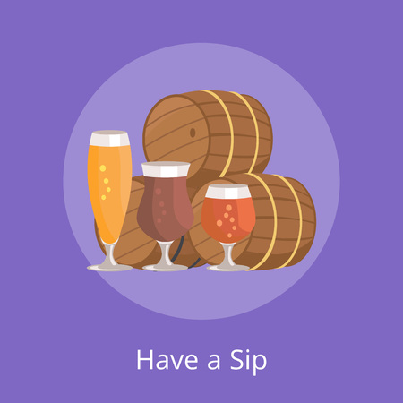 Have Sip Vector Illustration of Three Beer Barrels