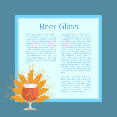 Beer Glass with Wheat Ears Isolated Illustration Иллюстрация