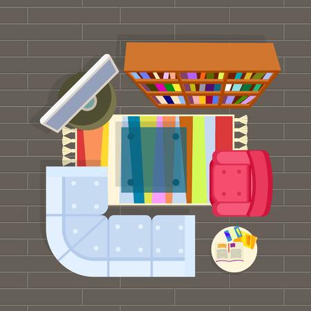 Living Room Planning Vector Illustration Grey Illustration