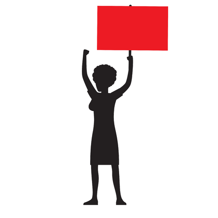 Woman Silhouette with Red Streamer Illustration Ilustração