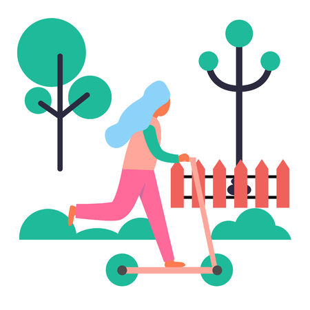 Girl Riding Push Scooter Isolated Illustration Ilustração