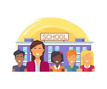 School Teacher and Children Vector Illustration