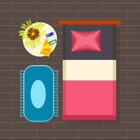ベッドルームインテリアプランニングベクトルイラスト  イラスト・ベクター素材