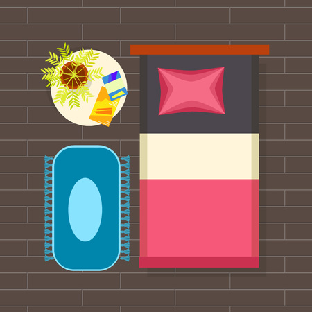 Bedroom Interior Planning Vector Illustration