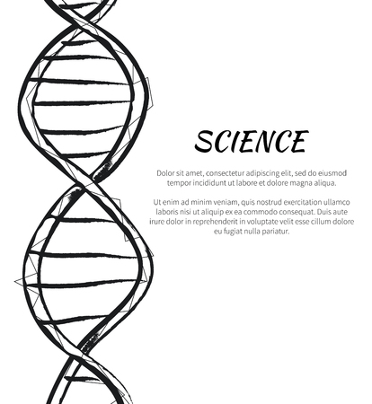 Science DNA Code Structure Icon Vector Poster Illustration