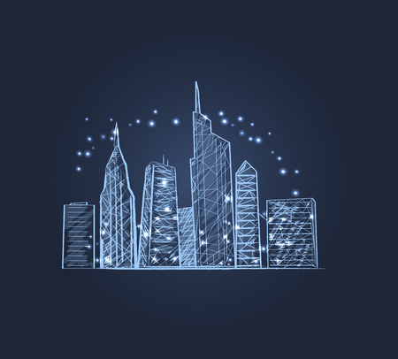 Night City Lights Icon Vector illustration