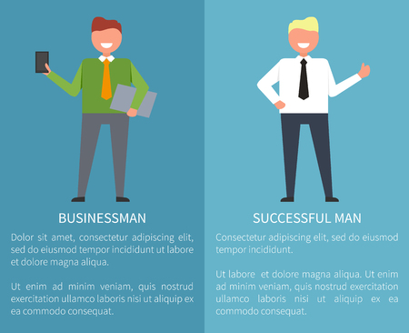 Successful Businessman Set of Posters on Blue