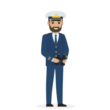 Bearded Captain in Blue Toggery with Binoculars