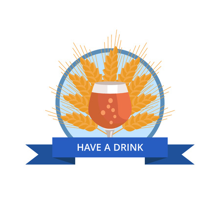 Have Drink Logo with Tulip Glass of Beer on Wheat