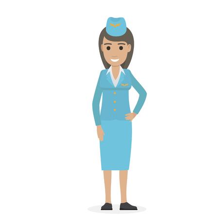 Cheerful Dark-haired Stewardess in Blue Uniform