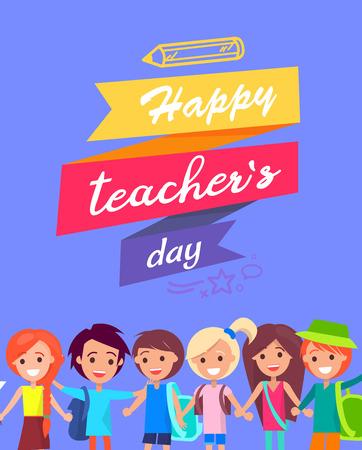 Happy Teacher s Day Congratulation Postcard Illustration