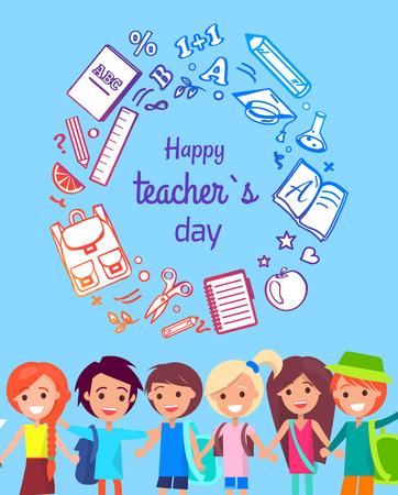 Happy Teacher s Day Poster Vector Illustration