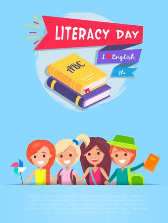 Literacy Day Light-Blue on Vector Illustration Ilustração