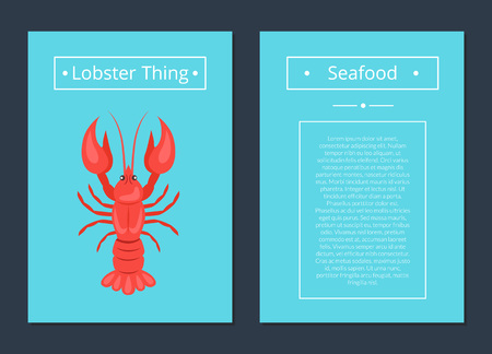 Lobster Thing Seafood Poster Red Crayfish Vector