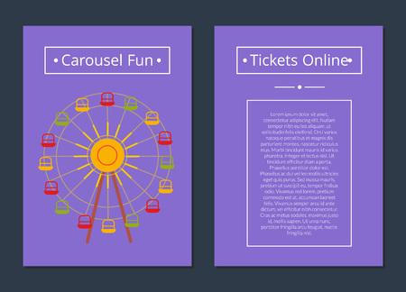 カルーセルファンチケットオンラインポスター観覧車  イラスト・ベクター素材