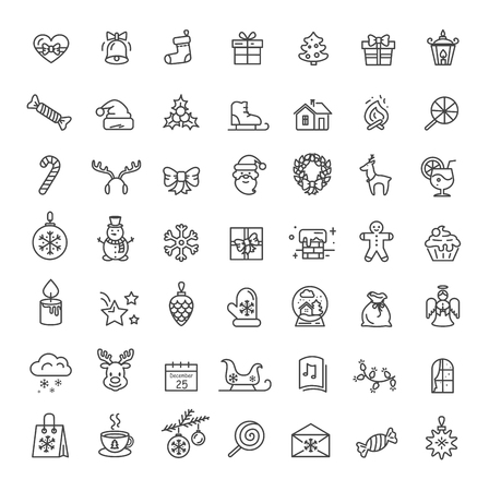 Small Christmas Icons Set on Vector Illustration