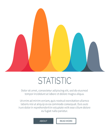 Statistic presentation with multicolored bar graph for illustrating data. Vector illustration of chart with room for text and buttons Ilustracja