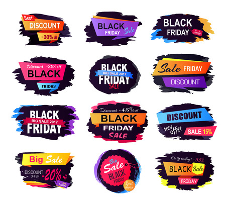 Best discount black friday collection of labels with title written on ribbons placed on black background vector illustration isolated on white Illustration