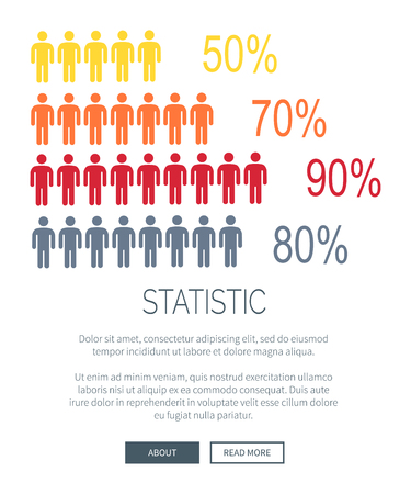 Statistic web page with icons of human silhouette and percentage, text and headline samples, buttons at bottom of picture on vector illustration