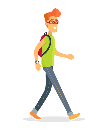 Casually dressed young man walking with backpack on his back and smile. Vector illustration of pedestrian traveler icon isolated on white background Vectores