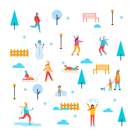 Wintertime outdoor activities, people having fun, skating and playing snowballs, trees and benches, fences and trees with snow vector illustration Illustration