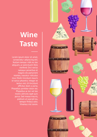 Wine taste description with grapes and bottles, glasses with drink, wooden barrels. Vector illustration with alcoholic beverage review on pink background