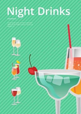 Night drinks colorful party advertisement with alcoholic drink decorated by cherry and straws. Vector illustration on bright green background