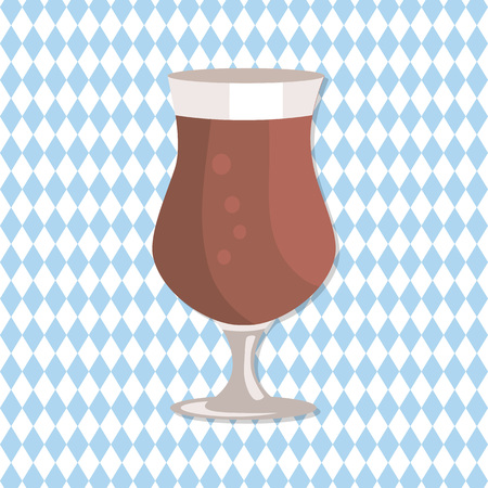 Tulip glass of beer in transparent cup on leg vector isolated on checkered abstract background. Black light alcohol beverage on Oktoberfest festival Illustration