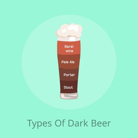 Soorten donkere biervatwijn, pale ale, porter en stout gegoten in glas met schuim met verschillende kleuren op vectorillustratie op groen