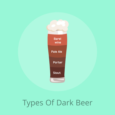 Types of dark beer barrel wine, pale ale, porter and stout poured in glass with foam having different color on vector illustration on green