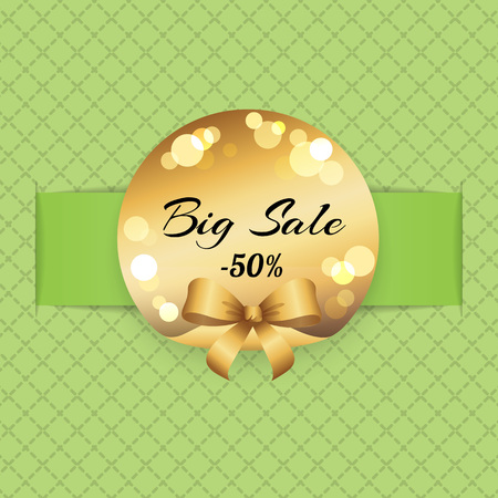 Big sale half price 50 percent off vector illustration with golden label blurred splashes, advertisement banner decorated with bow on checkered green Illustration
