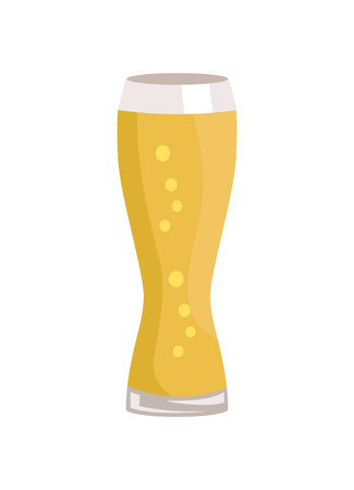 Weizen glass of beer isolated on white background vector illustration. Glassware of light alcohol drink with bubbles, symbol of Oktoberfest festival