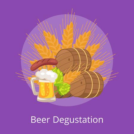 Beer degustation vector illustration of wooden casks, beer mug, fried sausage, green hop and wheat ear on purple background, Oktoberfest or Octoberfest