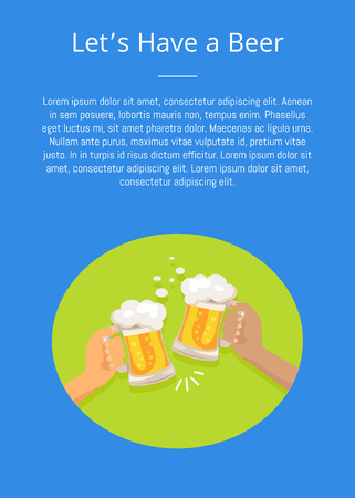 Lets have a beer poster with friends holding two glasses cheering each other on vector illustration with text in concept of Oktoberfest or Octoberfest festival Illustration