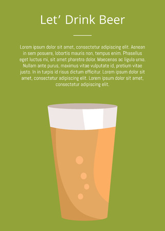 Lets drink beer poster with text and pint of dark drink in transparent glass vector. Light alcohol beverage with bubbles, symbol of Oktoberfest festival