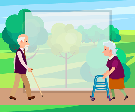 Retired man with walking stick and senior woman on walkers in city park with place for text vector illustration. Grandparents spend time together