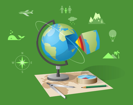 Geography class isolated vector illustration on green background. Cartoon style globe, graphite pencil and compass on world map along with other small icons Illustration