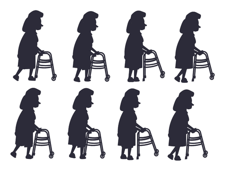 Elderly woman moving with help of front-wheeled walker black silhouette isolated vector on white. Metal tool designed to assist walking
