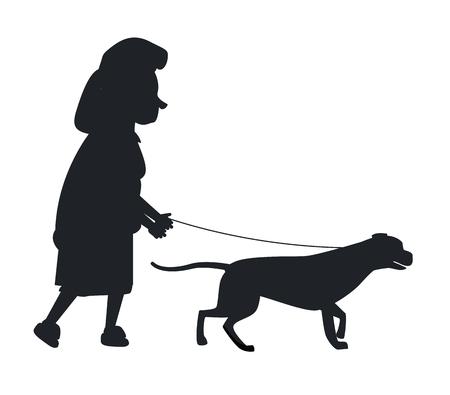 ●白に隔離されたリードシルエットベクトルイラストで犬ガイドを抱える老婆。聴覚障害者や盲目のおばあちゃんや動物ヘルパー