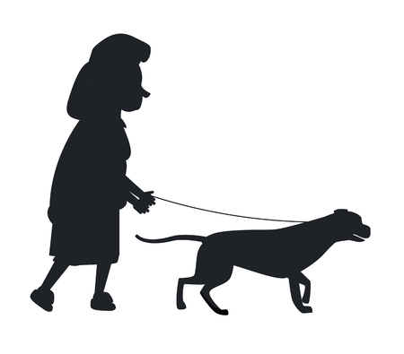 Old woman holding dog guide by the leash silhouette vector illustration isolated on white. Deaf or blind granny and animal helper