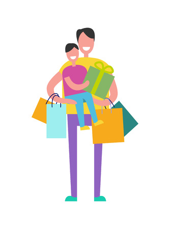 Father and son happy together in the process of shopping, daddy is carrying son and presents, bags vector illustration isolated on white Illustration