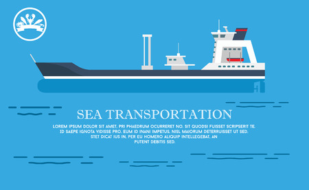 Sea transportation representation with large cargo ship on blue water with tiny waves. Vector illustration with shipping services advert