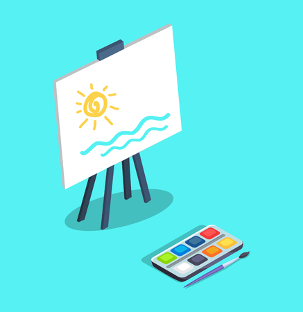 Easel with white canvas where drawn abstract sun and sea vector illustration isolated on blue. Picture depicted by watercolor paints with brush
