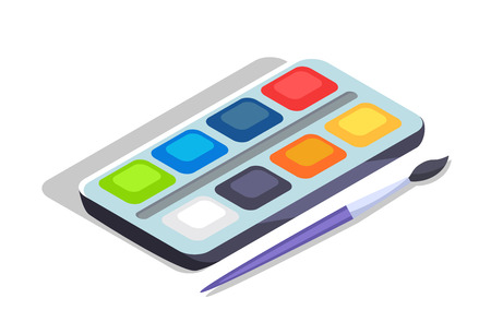 Watercolor paints colorful palette in box with brush vector illustration isolated on white. Aquarelle color paint for drawing or art lessons