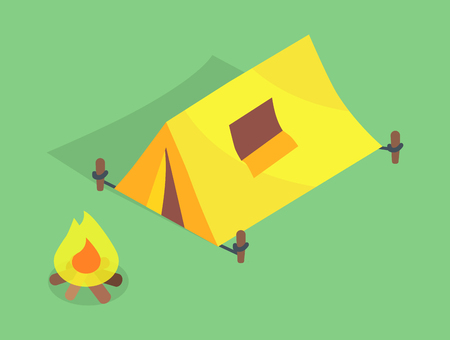 Camping tent with window on roof and bonfire vector illustration with shadow isolated on green background. Tourist shelter with firewood
