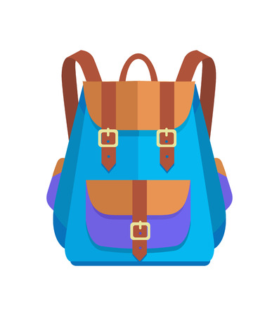 Rucksack unisex in brown and blue colors with big pocket and metal fasteners vector illustration isolated on white. Backpack in back to school concept
