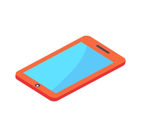 Modern red digital tablet with blue screen vector illustration isolated on white background. Smartphone or portable cellphone in isometric design