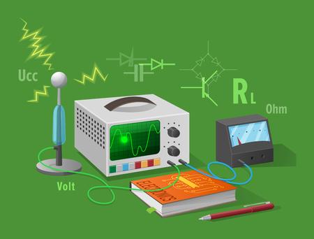 Elektronica klasse geïsoleerde illustratie op groen