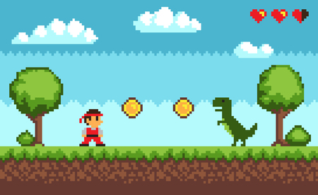 Old style pixel game. Picture representing character and dinosaur, coins and health, trees and bushes, sky and clouds on vector illustration.